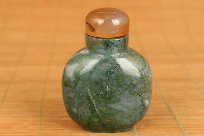Rare chinese old natural Aquatic agate jade big snuff bottle hand piece