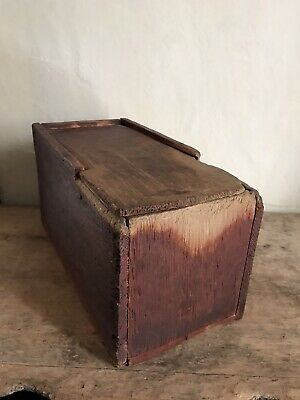 BEST Early Antique Original Red Paint BIG Square Nail Slide Top Candle Box AAFA