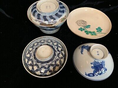 3 antique Chinese porcelain rice bowls 2 covered + satsuma plate relief decoratd