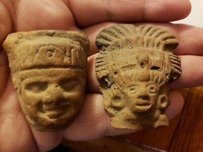 OUTSTANDING terracotta heads pre columbian Pristine detail artifacts relics rare