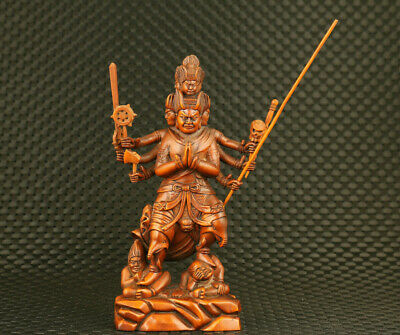 unique Chinese old boxwood hand carved exorcism tibet Buddha statue decoration