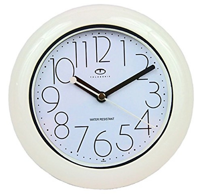 Water Resistant Wall Clock Quiet Sweep Movement Durable Plastic Case White New