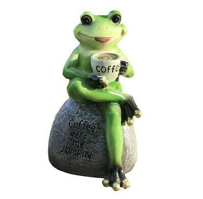 Resin Frog Garden Statue Frog Drinking Coffee Outdoor Sculpture Ornament Décor