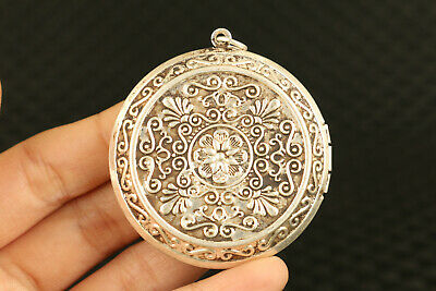 old Chinese Tibet silver Hand carving flower statue Photo box pendant gift