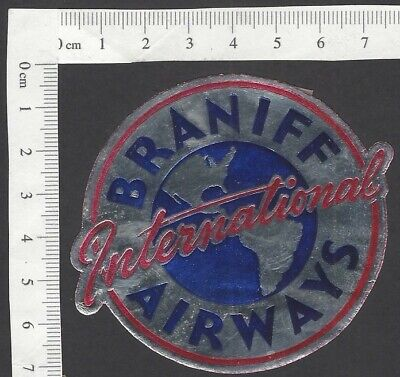 Braniff International Airways vintage metallic luggage label