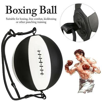Leather Boxing Speed Ball Punching Bag Dodge Gym Training Black Pu Sports