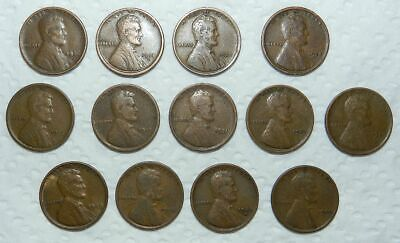 13 X  LINCOLN PENNIES / WHEAT CENTS - 1920's & A FEW EARLIER