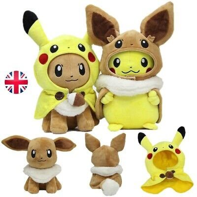 Pokemon Plush Toy Pikachu Eevee Wearing Cloak Cosplay Dolls Kids Stuffed Gift UK