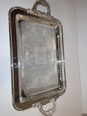 Leonard SilverPlated Footed Rectangular Serving Tray with Handles Vintage