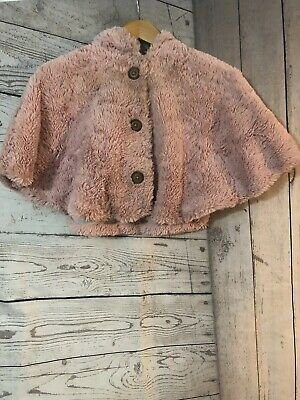 Girls Next Fluffy Pink Poncho Over Top Jacket Age 6 Years Excellent Condition