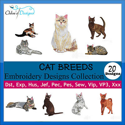 Cat Breeds Animals Collection Machine Embroidery Designs On Cd Usb Pes
