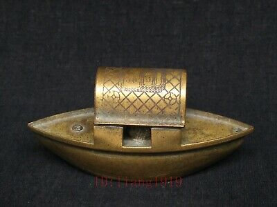 Collection Old China Tibet Copper Carved Buddha Boat Form Water Drop Decoration