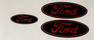 Ford Focus ST MK2 MK3  Gel Overlays Badges  Full Set Black / Red Gloss