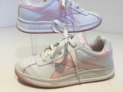 Girls Youth Teens Reebok Classic Trainers Sneakers Uk2/33 White Pink Detail Vgc