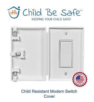 Child Be Safe WHITE Modern Switch Protector Baby Safety Cover Guard Decora Style