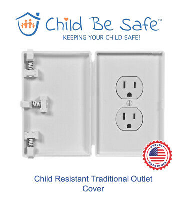 Child Be Safe WHITE Traditional Wall Outlet Protector Baby Safety Cover Guard