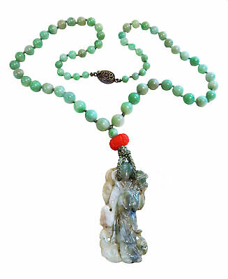 JADEITE Pendant And NECKLACE Apple GREEN QUAN Yin VINTAGE