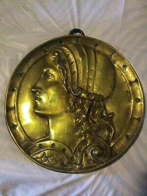 Heavy Brass Wall decor plaque ancient roman gold coin design early vtg figurine