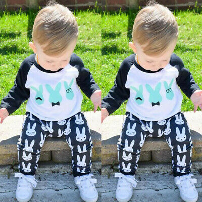2PCS Infant Baby Girl Boy Long Sleeve Top Blouse Easter Cartoon Pants Outfit Set