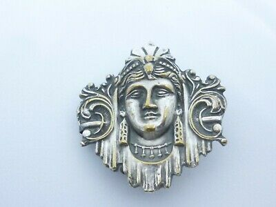 antique ladies belt or dress buckle silver plate classical womans' head