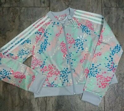 Girls Adidas Originals Multi Colour Floral Tracksuit Jacket Age 9-10 Years Nwot