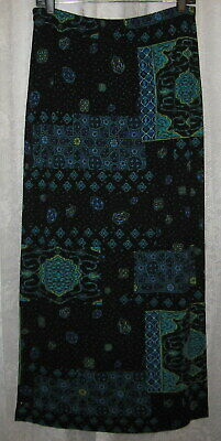Sz 2=L  New Chico's Stretch Black With Blue Turquoise Purple Artsy Pullon Skirt