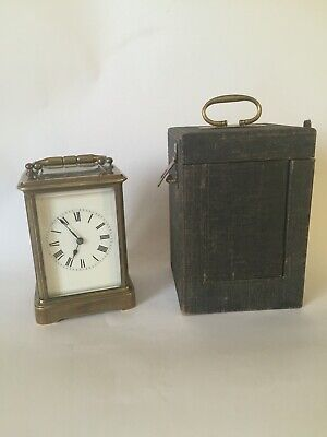 Rare One Piece Case Antique Bell Striking Carriage Clock, Mantle Clock With Case