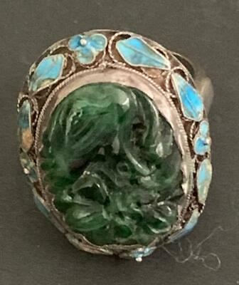 Antique Chinese Silver Carved Jade Cloisonne' Framed Ring Sz 7