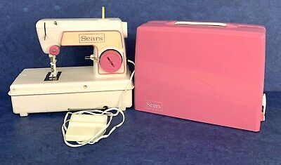 Vintage Sears Child's Sewing Machine Pink Battery operated With Carrying Case