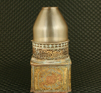 rare chinese old bronze hand casting oil lamp glass cover decoration collectible