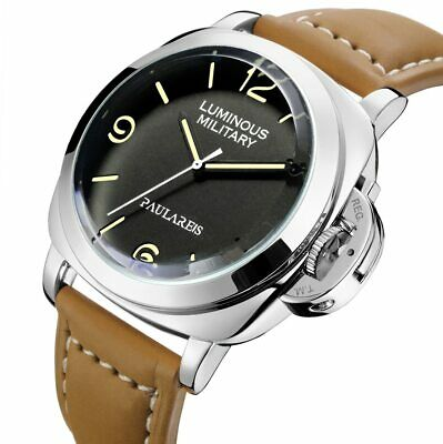 Men's Luminor Marina Homage Watch Militare Automatic Self Wind Leather Band