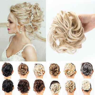 UK Natural Real Thick Messy Bun Scrunchie Hair Extension Blonde Brown as Human