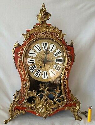 Antique Boulle Clock Vincent Cie 1855 Red Shell Brass Inlaid 8 Day Pendulum Gong