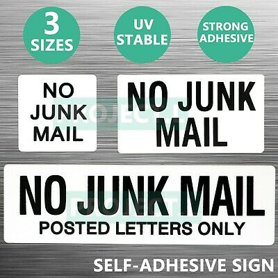 White No Junk Mail Sign Sticker Self Adhesive Plaque Decal On Letterbox Mailbox