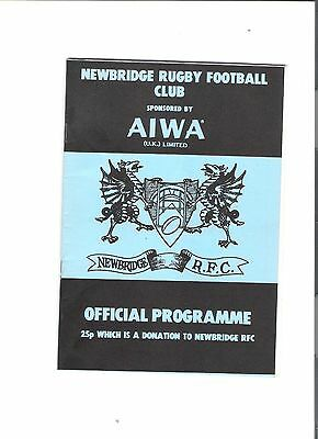 newbridge v newport rugby union programme 12/10/1985