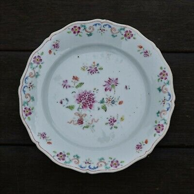 Antique Chinese porcelain plate in famille rose, early 1700's