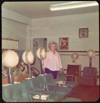 Vintage Photograph Woman Standing in Old Time Hair Salon Beauty Parlor