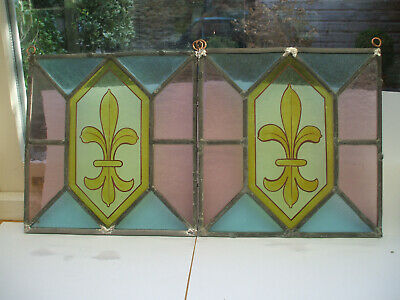 PAIR 19thc STAINED GLASS & HAND-PAINTED PANELS WITH FLEUR-DE-LYS