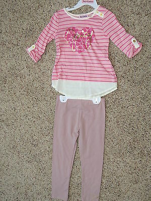 Juicy Couture Girls 2 Piece Pink Legging Set - Size 4 - NWT