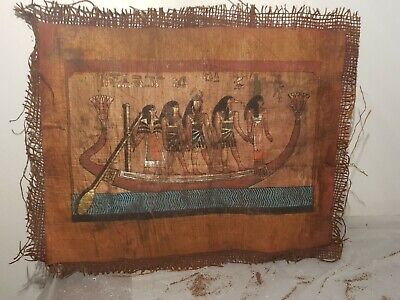 Rare Antique Ancient Egyptian Papyrus Funeral Boat God Isis Toth 1640-1560BC