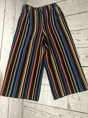 Girls New Look Black Stripe Flow Casual Wide Leg Trousers Age 13 Immaculate