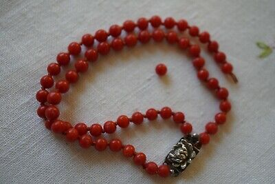 Antique Chinese Coral Knotted Bead Bracelet Sterling Silver Waterlily Closure