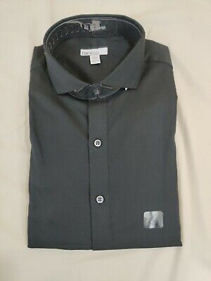 Bar III Mens LS Dress Shirt Black Size Large L 16-16-1/2 * 34-35 $65