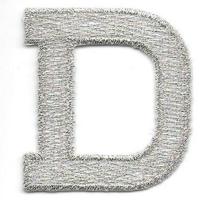 """1 7//8/"""" Bright Metallic Silver Monogram Block letter G Embroidery Patch"""