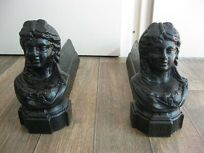 Antique French Metal Figural Head Lady Bust Fireplace Andirons Fire-Dogs  AIR