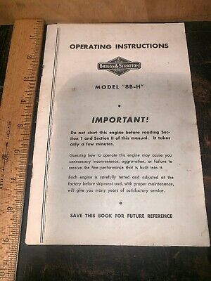 Briggs & Stratton Model 8B-H Engine Original User Manual Instructions Guide