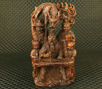 chinese old boxwood hand carved dargon guangong statue figure collect decoration
