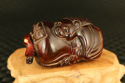 old chinese yak horn hand caved bat statue netsuke pendant collect Hand pieces