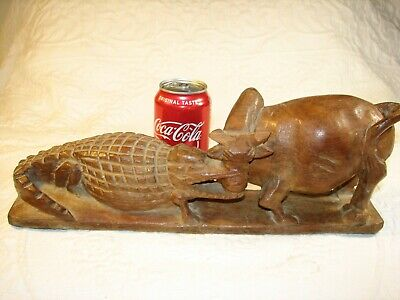 Antique Primitive Folk Art Cow Gator Fighting Wood Carving Figurine 15 Inches