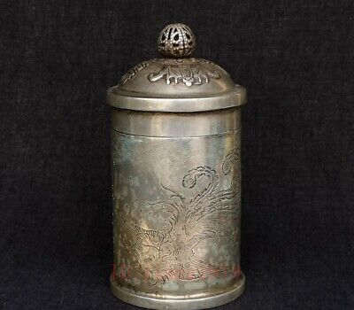 Collected Chinese Tibet Silver Carvings Dragon Phenix Bat Inlay Toothpick Bucket